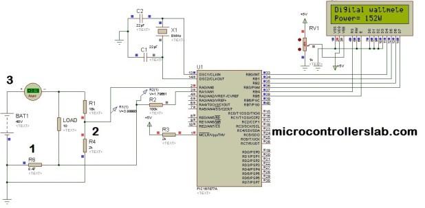 Digital Dc watt meter using pic microcontroller