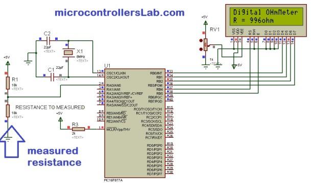 Digital ohmmeter circuit using pic microcontroller
