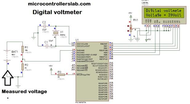 Digital voltmeter using pic microcontroller