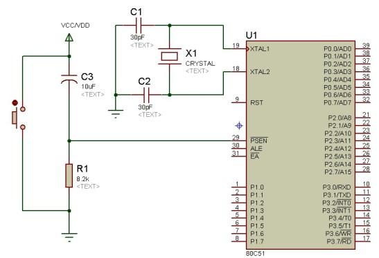 8051 microcontroller reset circuit