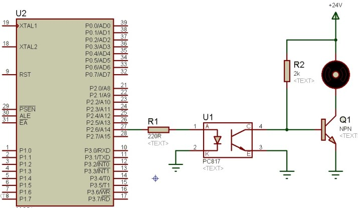 PC817 optocoupler  interfacing with 8051 microcontroller