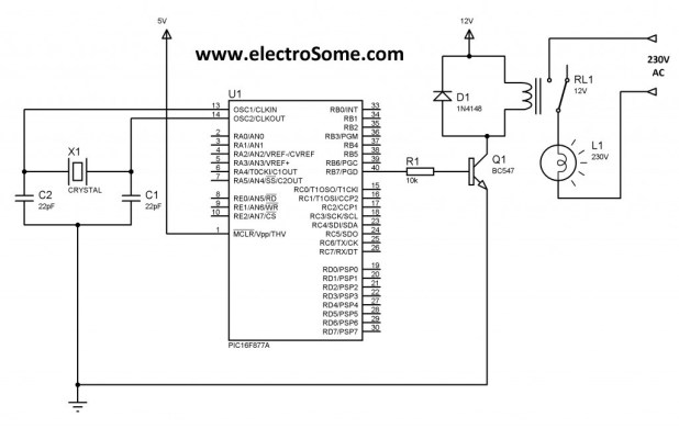 relay with PIC microcontroller through a transistor