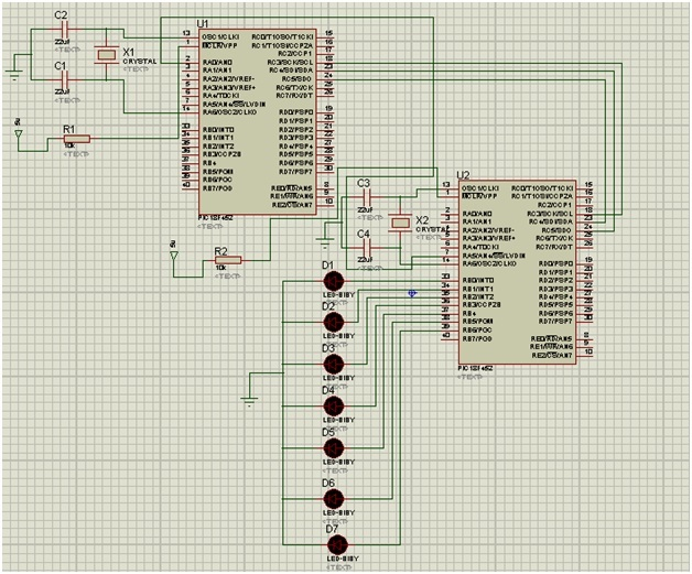 spi communication with pic microcontroller circuit diagram