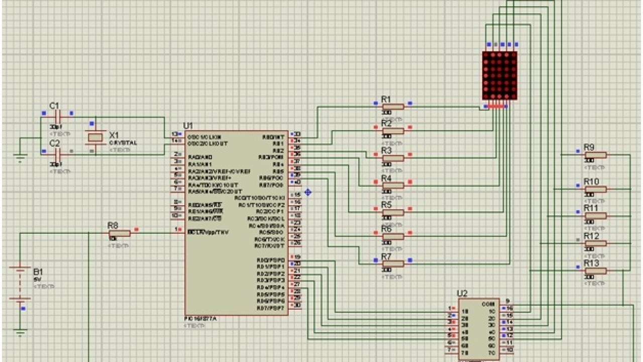 LED matrix interfacing with Pic microcontroller with code