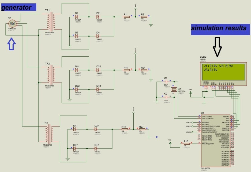 Simulation three phase voltge measurement using pic microcontroller