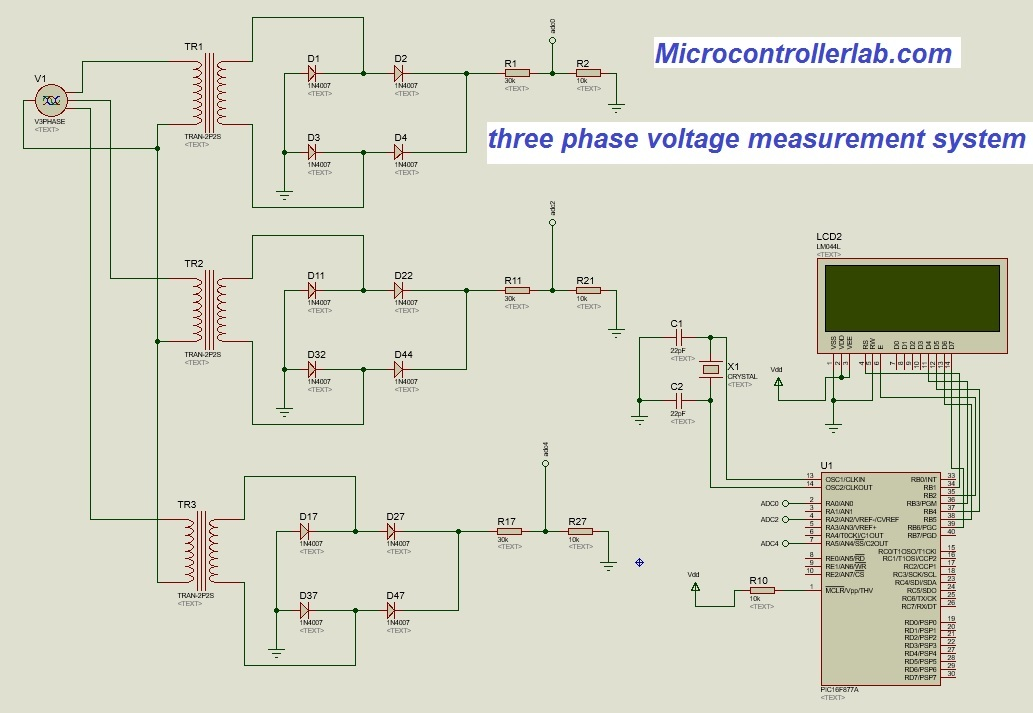 Three phase voltage measurement for generator transformer using pic on