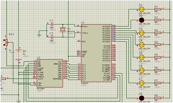ADC interfacing with 8051 microcontroller half voltage input
