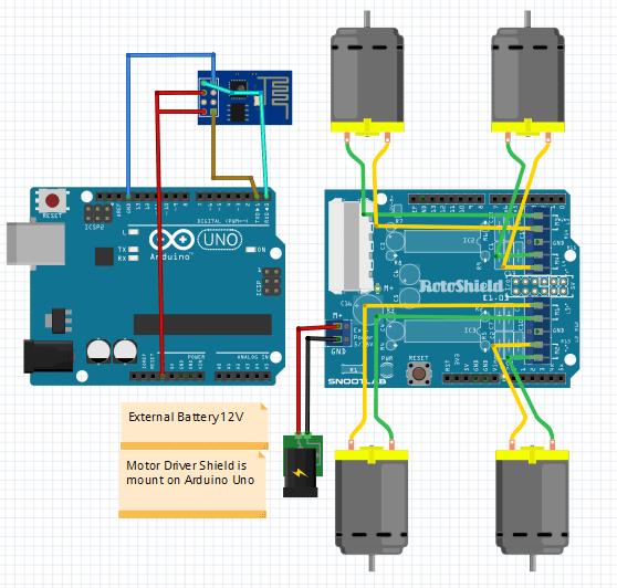 wifi controlled robot using arduino circuit diagram