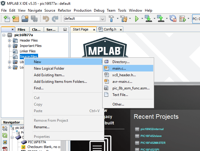 MPLAB XC8 Compiler add new c file