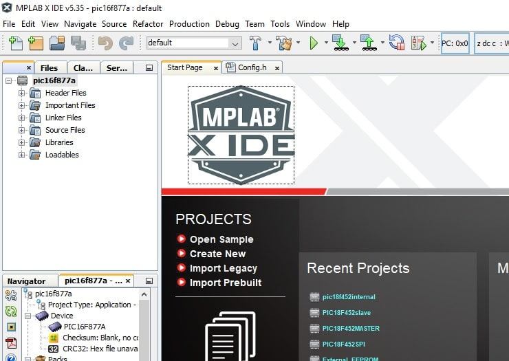 MPLAB XC8 Compiler project window