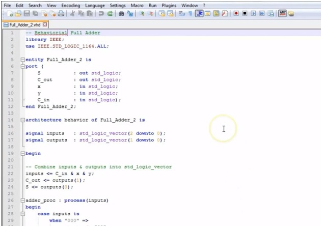 data types example in VHDL