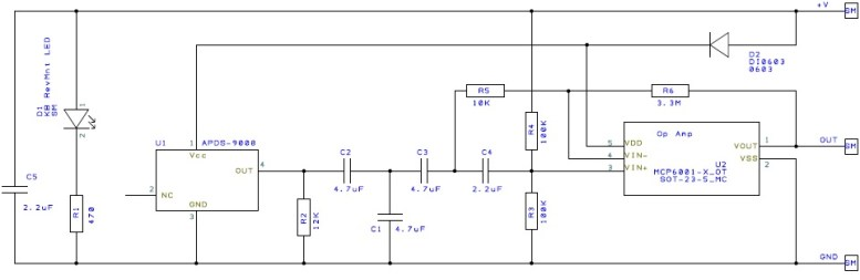 SEN-11574 heart pulse sensor schematic