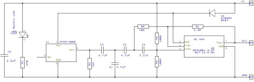 SEN-11574 heart pulse sensor schematic