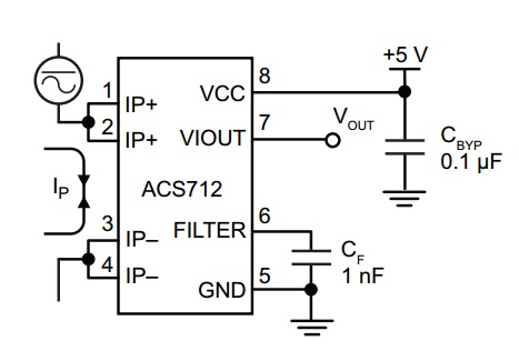 pinout of acs712 current sensor