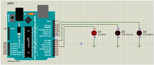 simple one way traffic signal using Arduino