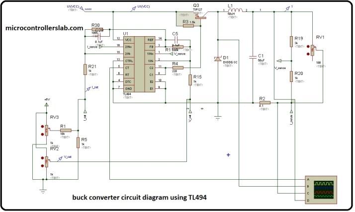 buck converter circuit diagram using TL494