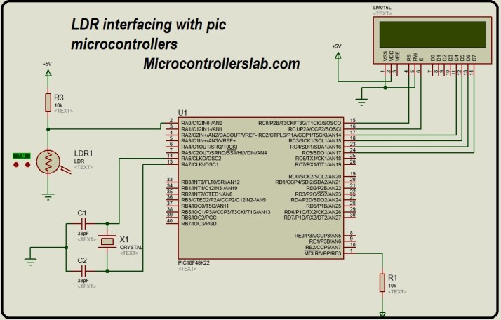 light dependent resistor interfacing with pic microcontroller