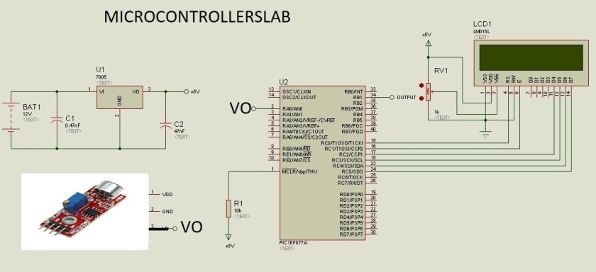 sound detection module interfacing with PIC16F877A microcontroller