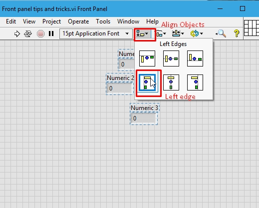 Alignment of elements in labview