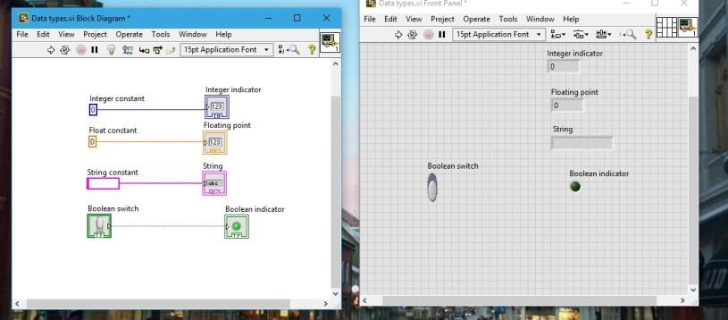 Boolean blocks data types in labview