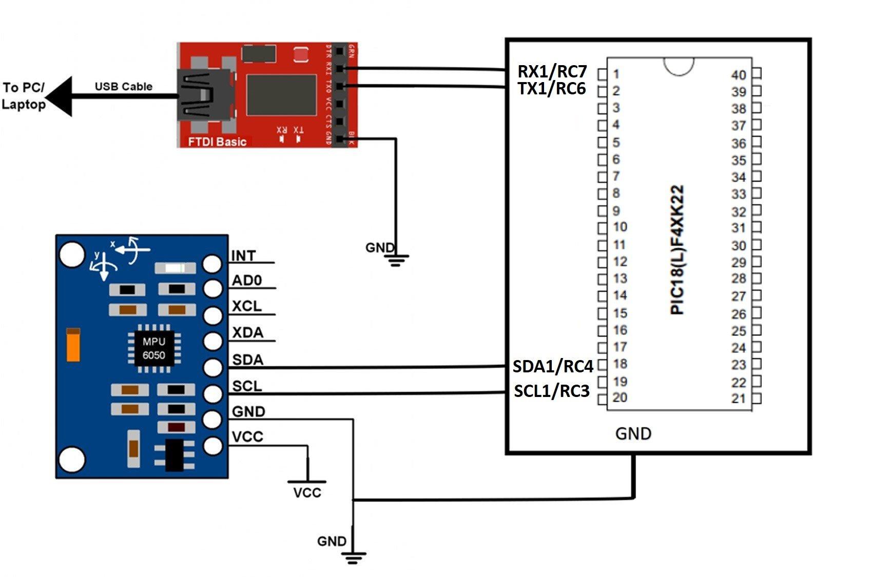 MPU6050 interfacing with pic microcontroller PIC18F46K22