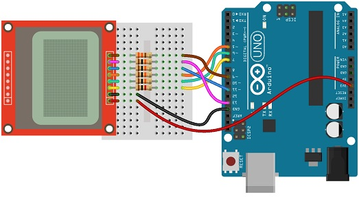 NOKIA 5510 LCD Display interfacing with Arduino