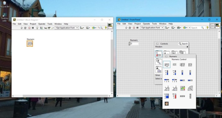 Placing controls labview