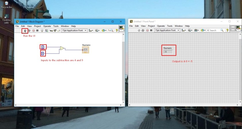 Subtraction output in labview