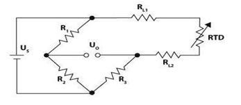 Two Wire Configuration of RTD 100 in Wheatstone Bridge circuit