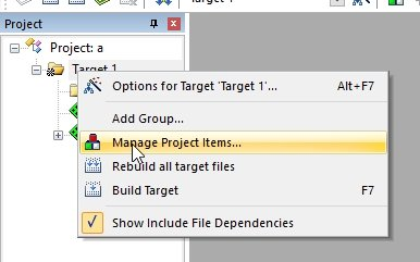 keil ide manage project items