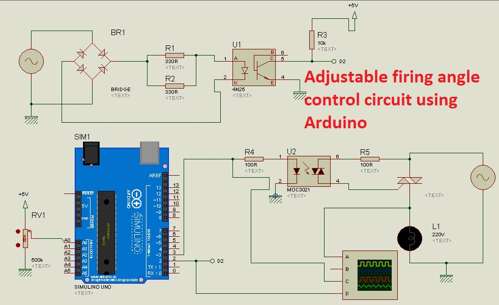 adjustable firing angle control of thyristor using arduino