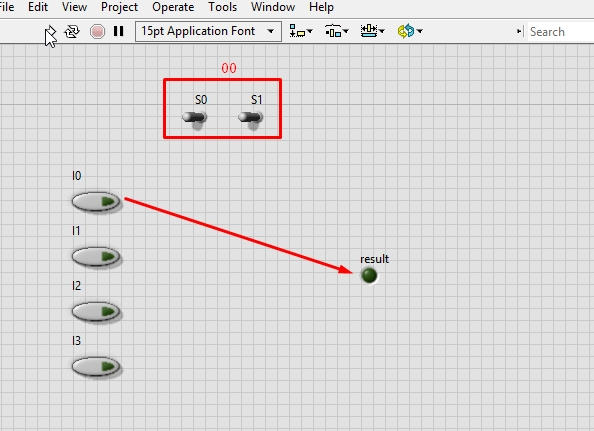 4x1 multiplexer design in labview: tutorial 33