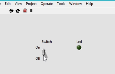 Labview LED control example with switch:tutorial 24