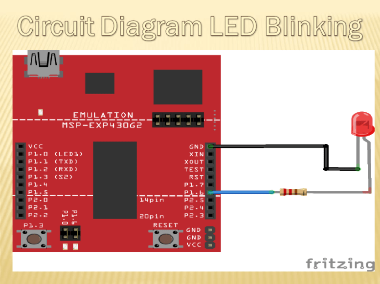 LED blinking using MSP430G2 LaunchPad