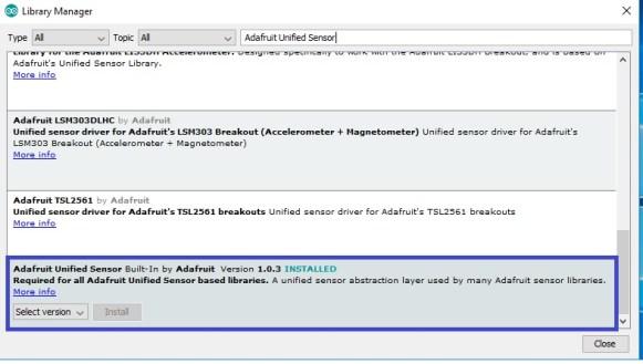 Adafruit unified sensor library install