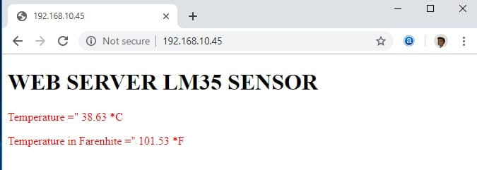 LM35 temperature sesnor esp32 web server
