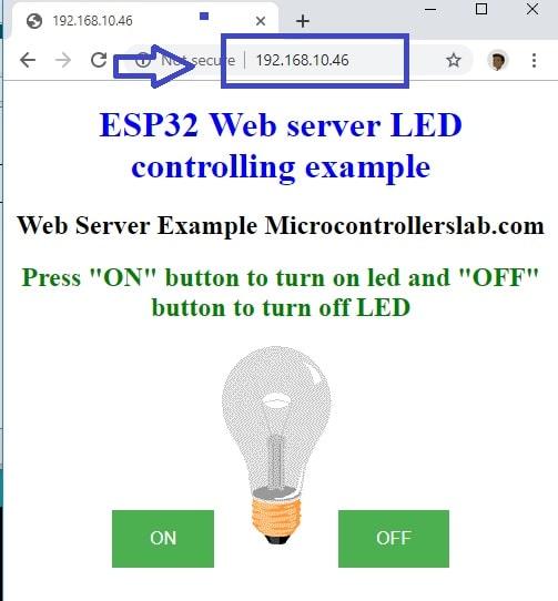 control 220 volt lamp from a webserver using ESP32