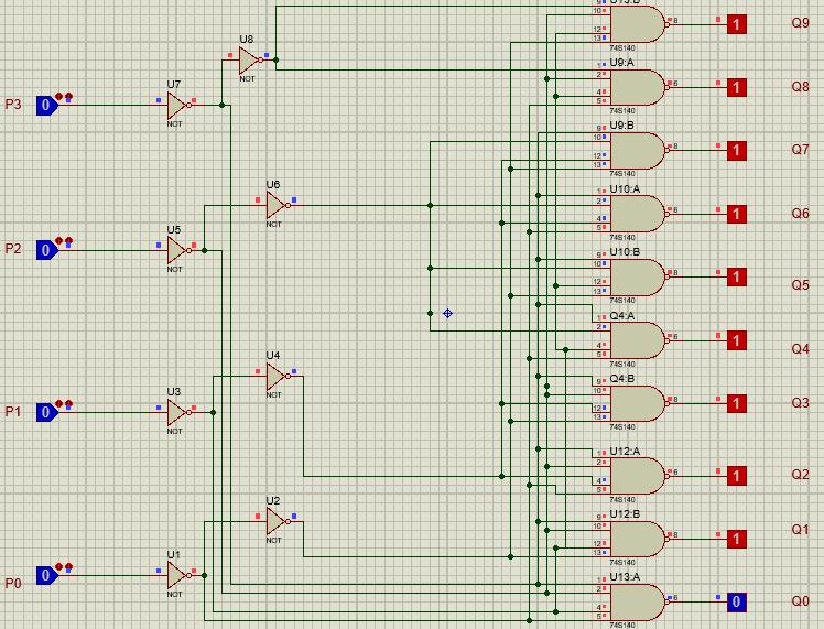 74LS145 proteus example input 0000