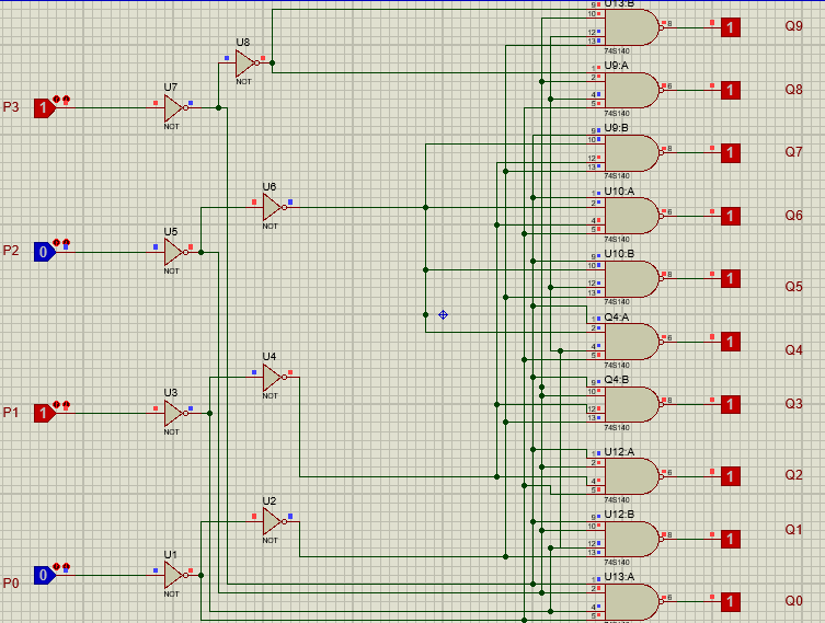 74LS145 proteus example input 1010
