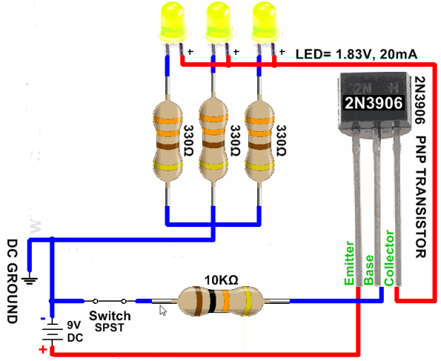 2N3906 transistor as a switch example