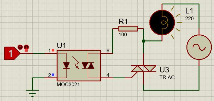 MOC3021 interfacing circuit with microcontroller