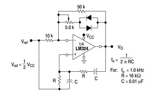 lM324 wien-bridge oscillator example