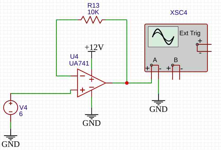 lm741 unity gain amplifier example