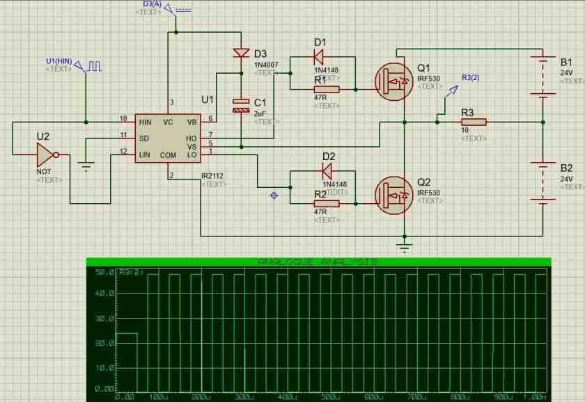 IR2112 as a half bridge circuit