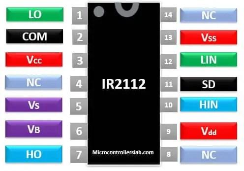 IR2112 pinout diagram mosfet igbt driver ic