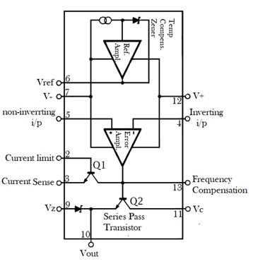 LM723C Variable Voltage Regulator internal block diagram