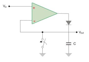 MC33171 Peak detector circuit example