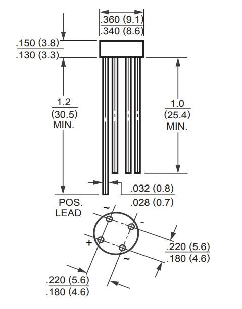 RB156 Bridge Rectifier 2D Diagram