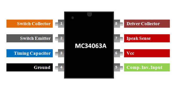 MC34063A Pinout Diagram
