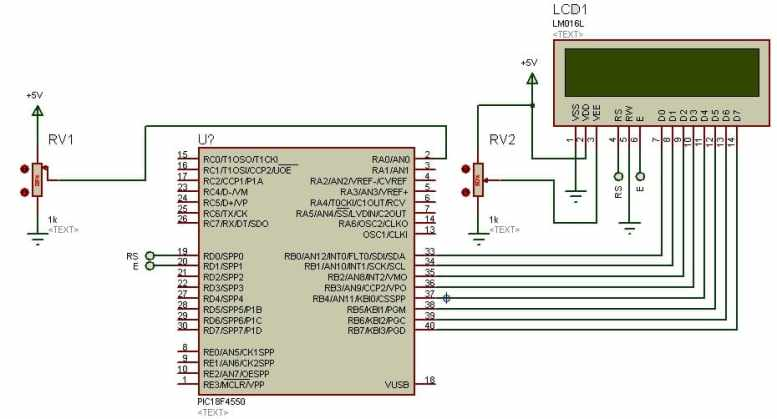 PIC18F4550 Microcontroller ADC with LCD Circuit Diagram
